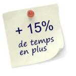 +15% de temps en plus